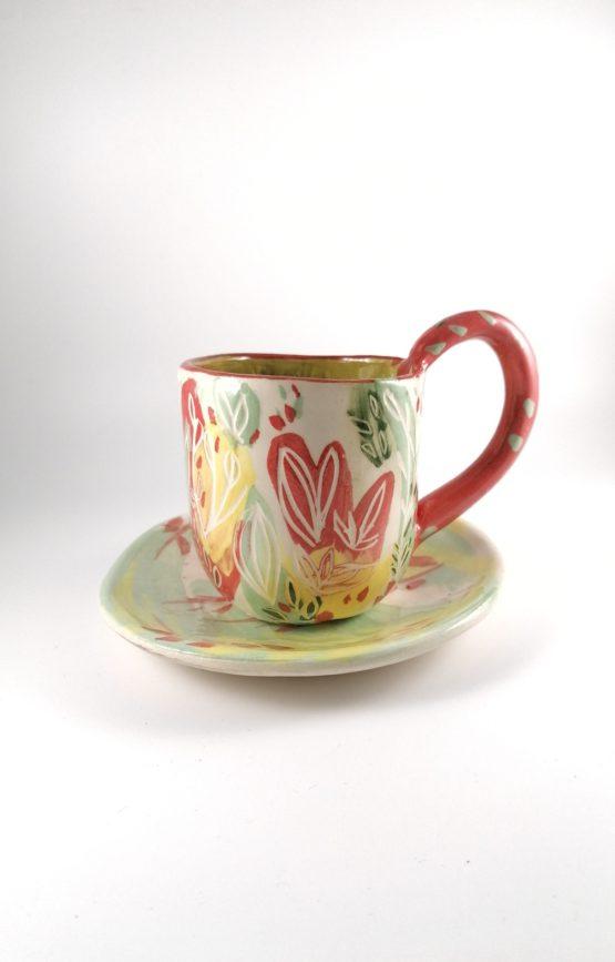 taza artesanal ceramica natural ecologica motivos florales colorida ibiza